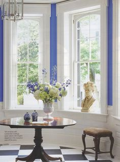 these are not the colors of the house, but I like how they put a splash of color in the bay window panels.. just an idea