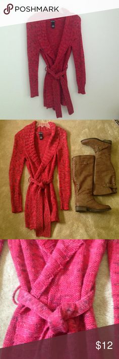 Red belted sweater coat Cozy and warm belted red sweater. Pair with boots to be stylish and warm. Size M by Wet Seal. Wet Seal Sweaters