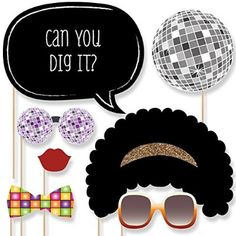 70's Disco - Photo Booth Props Kit - 20 Count