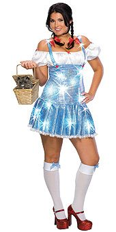 For fans of The Wizard of OZ you can shine as Dorothy in this cute and sexy costume. Glittering Sweet Dorothy Costume features a blue and white dress that is covered in holographic sequins and red hair bows. A great Halloween costume! Plus size fits size Plus Size Dorothy Costume, Wizard Of Oz Dorothy Costume, Plus Size Costume, Plus Size Halloween, Halloween Fancy Dress, Halloween Costumes, Spirit Halloween, Halloween Ideas, Halloween City