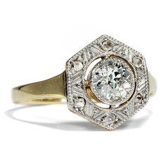 Diamonds are Forever - Erstklassiker Art Déco-Ring aus Gold, Platin und Diamanten, um 1930 #hoferantikschmuck #antik #schmuck #antique #jewellery #jewelry