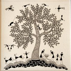 Buy Warli Kadamba Tree - Folk Paintings Warli art on paper - celebrating the tree of life with typical Kadamba leaves The vast scope of art in India is inseparably woven with the cultural history, religions, mythologies, and philosophies associat Art Painting, Worli Painting, Tree Of Life Artwork, Painting, Indian Folk Art, Tree Of Life Painting, Tribal Art Drawings, Folk Art Painting, Tree Of Life Art