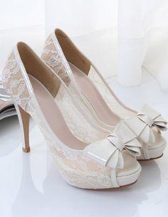 Fabulous White Lace Peep Toe High Heels #White_Lace #High_Heels #Fashion
