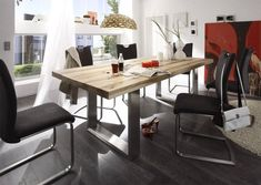 instrument CASTELLO dining table. Top available in following different lengths: 160, 180, 200, 220, 260 cm - Solid oak top - The base frame brushed stainless steel - Made in Europe