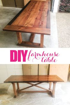 Make your own diy farmhouse table with these awesome plans. My dad, aka Grandy, made this table in just a few days and it's gorgeous! Make your own diy farmhouse table with these awesome plans. My dad made this table in less than a week and it's gorgeous! Furniture Projects, Furniture Plans, Home Furniture, Diy Projects, Furniture Design, Furniture Stores, Chair Design, Backyard Furniture, Luxury Furniture