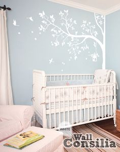 "White Tree Wall Decal - Nursery Wall Decor - White Wall Mural Sticker - Corner Blossom Tree decal Birds Birdhouse, Large: 93"" x 70"" - KC057"