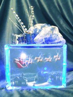 DIY Lighted Glass Blocks. Love this. It lights up the scene!