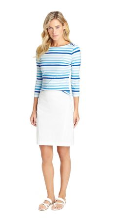 Wavesong Boatneck Tee In Surf Stripe