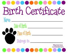 Dog birth certificate template puppy birth certificates cjs pet themed kids parties custom birth certificate to go with your stuff a plush party yadclub Gallery