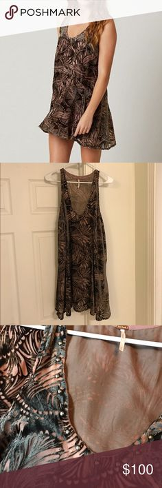 PRICE CUT**Free People Ellie Velvet Dress Beautiful mini dress featuring a patterned velvet design with a studded neckline. This color option is NOT available in stores anymore. No defects!! Free People Dresses Mini