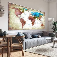 Large Travel World Maps Push Pin on Canvas Old World Style Original Wall Map Set Office Wall Art Photo Decor on Canvas   PRINT ON CANVAS #249 - 4P Total: 46x71   117x180 cm