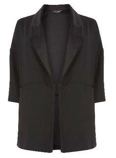 Dorothy Perkins Womens **DP Curve Black Satin Pocket Blazer- Black satin blazer with kimono style sleeves and side pockets. Wearing length approx. 86cm. http://www.MightGet.com/january-2017-13/dorothy-perkins-womens-dp-curve-black-satin-pocket-blazer-.asp