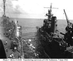 USS Portland right, transfers USS Yorktown survivors to USS Fulton submarine tender on June 1942 during the Battle of Midway. Naval History, Us History, Theory Of Life, Uss Yorktown, Us Navy Ships, Story Of The World, United States Navy, Pearl Harbor, Submarines