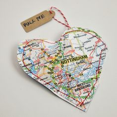 Personalised Treat Map Hearts for Valentines - Pillar Box Blue