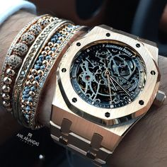 Love this Audemars Piguet Skeleton Dial grey and rose gold combo!