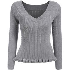 V Neck Peplum Hem Grey Sweater (100 EGP) ❤ liked on Polyvore featuring tops, sweaters, grey, long-sleeve peplum top, pullover sweater, grey sweater, vneck sweater and sweater pullover