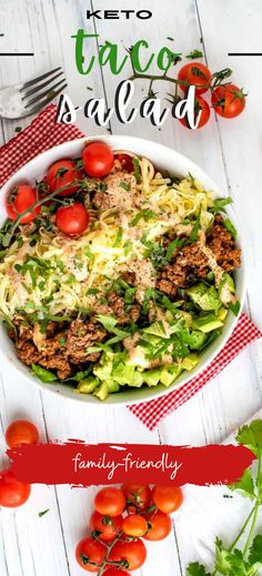 This Keto Taco Salad is what to make when you are short on time or long on things you would rather do than cook! It takes less than 25 minutes to make and keeps perfectly for lunch all week. This is a go-to recipe that you'll want to make time and again. Low Carb Taco Salad, Salad Recipes Low Carb, Low Carb Tacos, Keto Recipes, Recipes Dinner, Lunch Recipes, Keto Lunch Ideas, Low Carb Meal Plan, Perfect Food