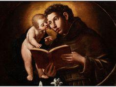 HEILIGER ANTONIUS VON PADUA MIT DER VISION DES JESUSKINDES Öl auf Leinwand. 67,5 x 90 cm. Beiliegende eine Expertise von Emilio Negro in Kopie. (1000841)...