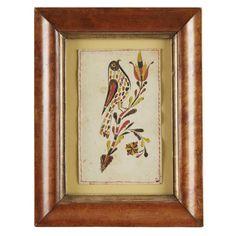 Fraktur: Reward with bird on branch, Probably Bucks or Montgomery County, PA, 19th century