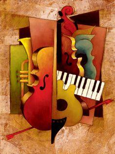 Jazz Art, Jazz Music, Cubist Art, Abstract Art, Music Artwork, Guitar Art, Elements Of Art, Collage Art, Sculpture Art
