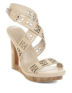 BCBG MAX AZRIA Mazey Laser-Cut Wedge Day Sandal
