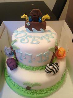 Noah's ark christening cake Www.meloscakes.co.uk