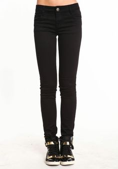 Basic Colored Skinny Jeans, BLACK, large