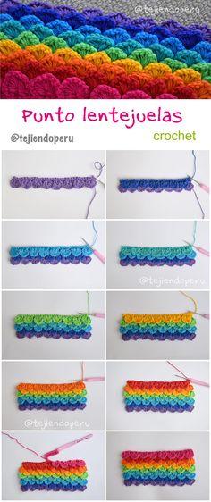 Crochet: punto lentejuelas arcoiris! Crochet sequin stitch: rainbow colors! Video tutorial ;)