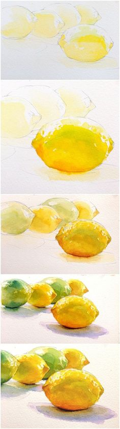 Step by step Lemon painting and a good study in layering and shadows.