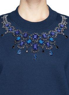 SACAI LUCK - Jewelled neckline sweatshirt | Blue Pullover Tops | Womenswear | Lane Crawford - Shop Designer Brands Online