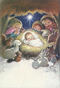 Christmas Nativity Scene, Christmas Scenes, Vintage Christmas Cards, Retro Christmas, Christmas Angels, Christmas Art, Vintage Cards, Winter Christmas, Christmas Illustration