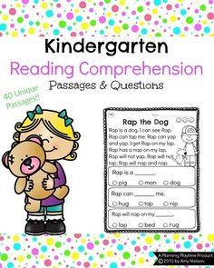 Kindergarten Reading Comprehension Passages. The 40 passages have a word family focus and are great for early emergent readers. #reading #comprehension #kindergarten #passages