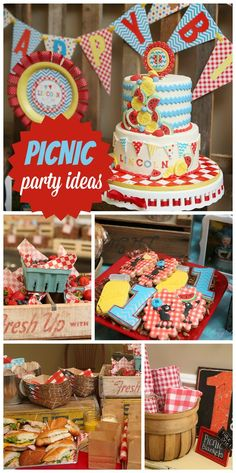 A first birthday party with a Picnic theme, red gingham decorations, and a fantastic decorated cake and cookies! See more party planning ideas at CatchMyParty.com!