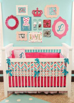 "Room color idea for Emi's room. Her ""big girl bed"" is white and her bedding is aqua/blue, pink and white. I'm thinking I could bump up some of the other things in her room and make it really bright and fun in there for her. Love this!"