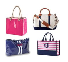 We have your summer essentials, including amazing monogram tote bags for your weekend getaway or day at the beach!