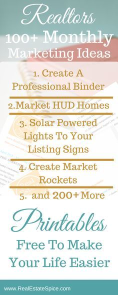 100 Unique Monthly Marketing Ideas For Real Estate Agents. Stay top of mind! Don't lose your customers to another agent.