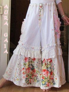 Loose Print Floral Wide Legs Full Length Casual Pants – show-you-beauty Mode Hippie, Mode Boho, Altered Couture, Fashion Prints, Boho Fashion, Womens Fashion, Boho Outfits, Vintage Outfits, Site Mode