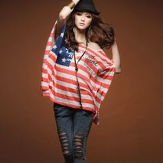 $8.47 Fashionable Diagonal One-Shoulder American Flag Type Bat-Wing Sleeve Cotton Blended Blouse For Women