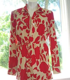 Sz 8 TWO TWENTY FIVE Shirt Jacket 100% Silk Button Down Lined Beige Red Career