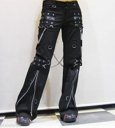 Unisex Punk Rave Visual Kei Bondage Trousers with Chains Goth Emo S M L XL XXL | eBay