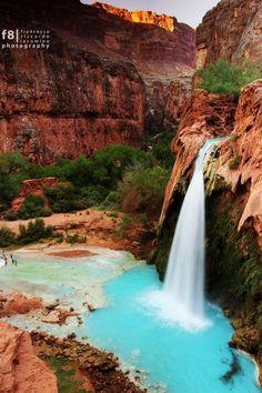 Havasu Falls in the Havasupai Indian Reservation, 10 miles down into the Grand Canyon - Arizona
