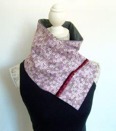 Echarpe molletonnée en liberty et jersey gris . : Echarpe, foulard, cravate par couleur-boheme