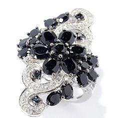 143-449 - NYC II® 4.14ctw Black Spinel & White Zircon Flower Ring