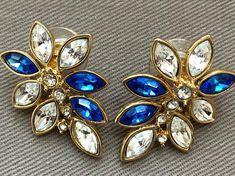 Monet Earrings, Blue Crystals, Floral Motif, Vintage Earrings, Clear Crystal, Ear Piercings, 1990s, Statement Earrings, Dark Blue