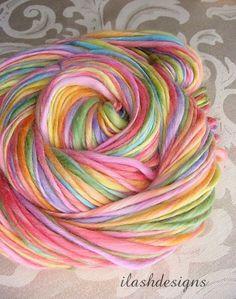 Handspun Merino Bamboo Silk  Rainbow Yarn Rainbow by ilashdesigns, $16.00