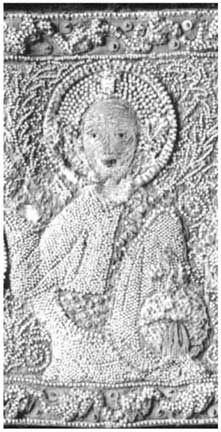 A panel embroidered in pearls, showing a saint; 1350-1375, Prague, Czechoslovakia.