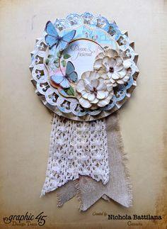 Paper rosette with G45 papers & Petaloo flowers - Nichola Battilana