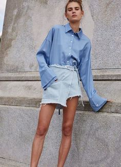 Boyfriend blouse and denim skirt