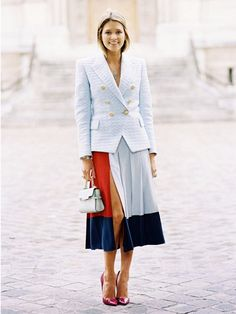 Street style, night out, double-breasted blazer, color block dress with slit. Tip Of The Day: Romantic Minimalism via @WhoWhatWear