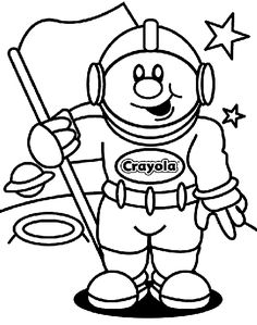 "Astronaut coloring page. I'll cut out the head & erase out the ""Crayola"" on the suit to add each child's name. I'll put a photo of each child in the helmet. 4-5 yr olds for VBS"